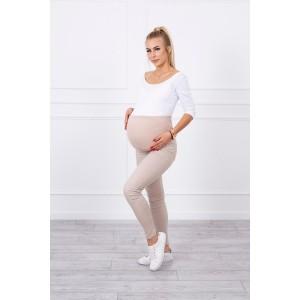 Džinsinės kelnės nėščiosioms - kreminės spalvos