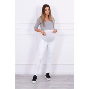 Džinsinės kelnės nėščiosioms - baltos spalvos