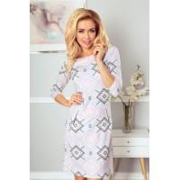 Suknelė su užtrauktukais - rožinės spalvos su pilkos spalvos raštais 38-21
