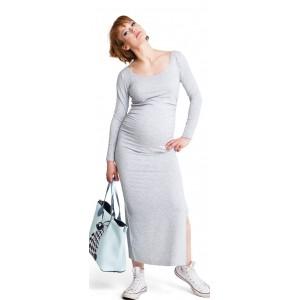 Ilga suknelė XL/XXL nėščiosioms (pilkos spalvos)