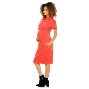 Suknelė nėščiosioms - maitinančioms (koralinės spalvos)