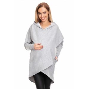 Džemperis nėščiosioms - maitinančioms su gobtuvu (kapišonu) - (pilkos spalvos)