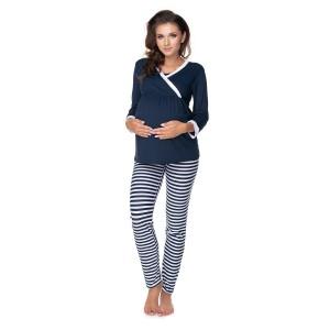 Pižama nėščiai - pritaikyta maitinimui (tamsiai mėlynos spalvos)