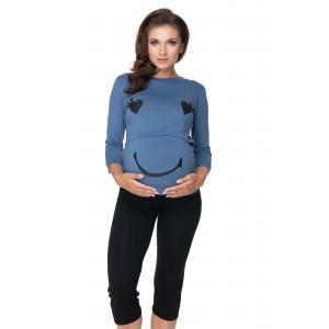 Pižama šypsenėlė nėščioms bei maitinančioms (mėlynos spalvos)