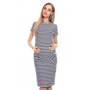 Dryžuota suknelė nėščiosioms - mėlynos spalvos