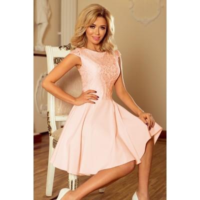 157-7 Suknelė MARTA su nėriniais - peach Suknelės