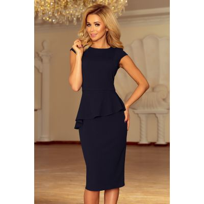192-4 Elegant midi suknelė su frill - tamsiai mėlynos spalvos Suknelės