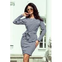 209-1 Suknelė su plačiu diržu - tamsiai mėlynos spalvos stripes