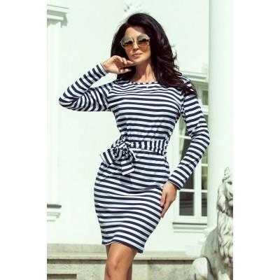 209-1 Suknelė su plačiu diržu - tamsiai mėlynos spalvos stripes Suknelės