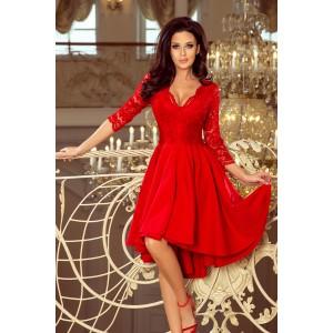 210-6 NICOLLE - suknelė su ilgesne nugaros dalimi su nėriniais iškirptėje - Red