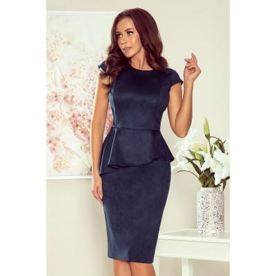 192-9 Elegantiška midi suknelė su klostėmis - tamsiai mėlynos spalvos Suknelės