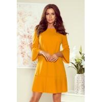 228-7 LUCY - klostuota patogi suknelė - garstyčių spalvos