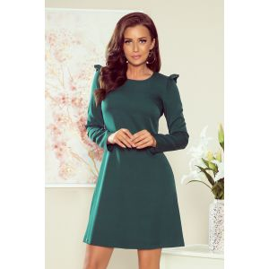 264-1m NELL Trapecinė suknelė su klostėmis - žalios spalvos
