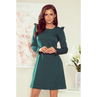 264-1 NELL Trapecinė suknelė su klostėmis - žalios spalvos Suknelės