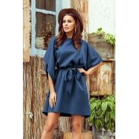 287-7 SOFIA Drugelio formos suknelė - mėlynos spalvos