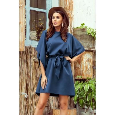 287-7 SOFIA Drugelio formos suknelė - mėlynos spalvos Suknelės