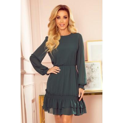 336-2 Šifoninė suknelė su elastiniais elementais - žalios spalvos Suknelės