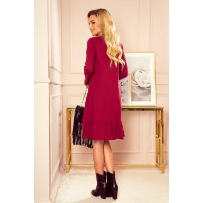 337-2 Trapecinė suknelė su klostėmis - burgundiškos spalvos Suknelės