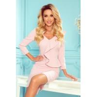 327-1 Elegantiška suknelė su klostėmis ir iškirpte - pastel rožinės spalvos